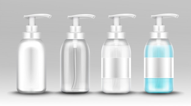 Plastic bottle with dispenser pump for liquid soap