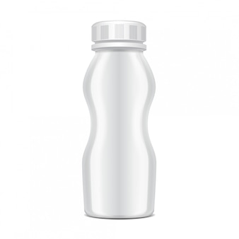 Пластиковая бутылка с завинчивающейся крышкой для молочных продуктов. для молока пей йогурт, сливки, десерт. реалистичная упаковка