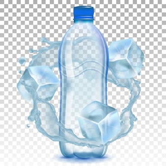Plastic bottle with water and ice cubes.
