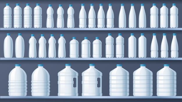 선반에 플라스틱 병. 생수 선반, 액체 음료 및 순수 미네랄 워터 저장소 벡터 일러스트 레이션