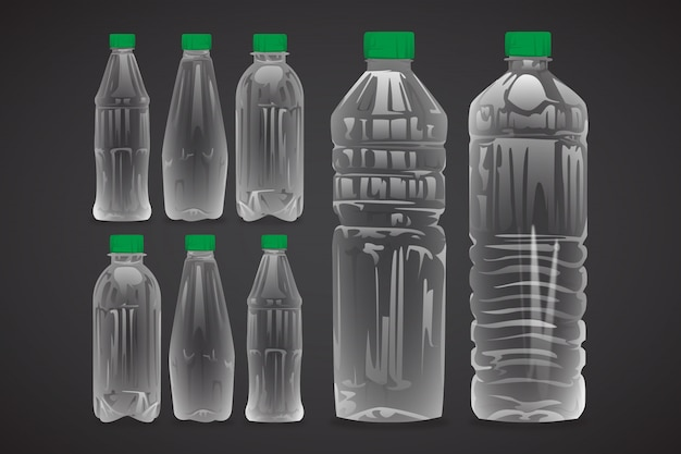 Plastic bottles of water realistic set