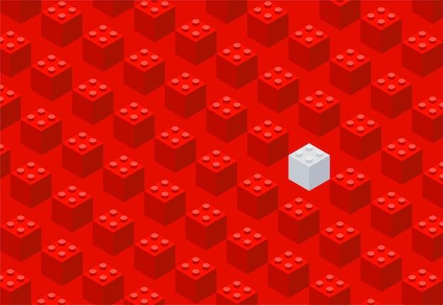 プラスチック製のレンガ。子供のデザイナー。横長のバナー。赤い背景。ベクトルイラスト