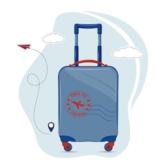 Plastic bright blue travel suitcase on wheels