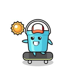 플라스틱 버킷 캐릭터 그림은 스케이트보드를 타고, 티셔츠, 스티커, 로고 요소를 위한 귀여운 스타일 디자인