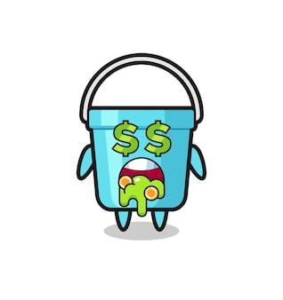 Персонаж из пластикового ведра с выражением безумия в деньгах, милый стиль дизайна футболки, наклейки, элемента логотипа