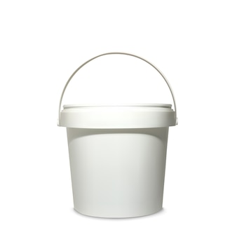 Plastic bucket illustration of 3d realistic white container for mockup model of brand package