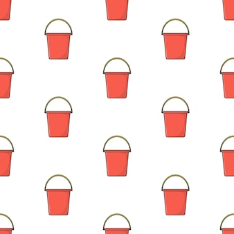 Plastic bucket seamless pattern on a white background. plastic bucket theme vector illustration