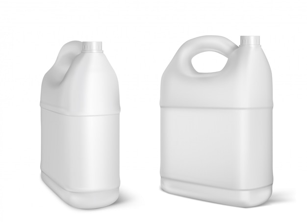 Plastic canisters, white jerrycan bottles isolated