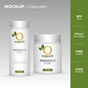 Plastic capsules bottle jar and tube design with organic logo