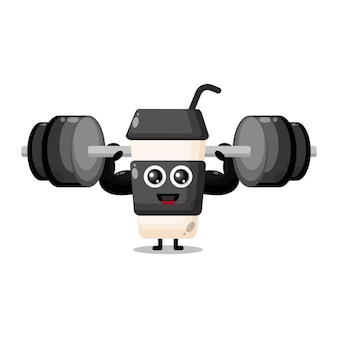 Plastic coffee cup fitness cute character mascot