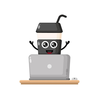 Plastic coffee cup laptop cute character mascot