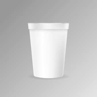 Plastic coffee cup mockup vector