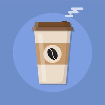 뜨거운 커피 아이콘이 있는 플라스틱 커피 컵.