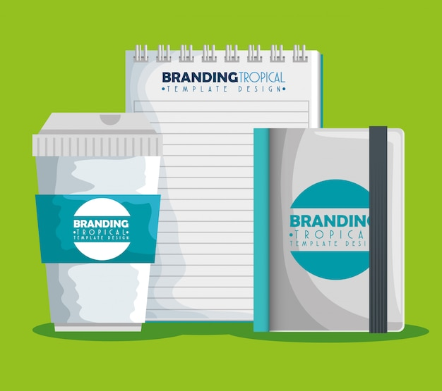 Plastic coffee cup with notebooks product