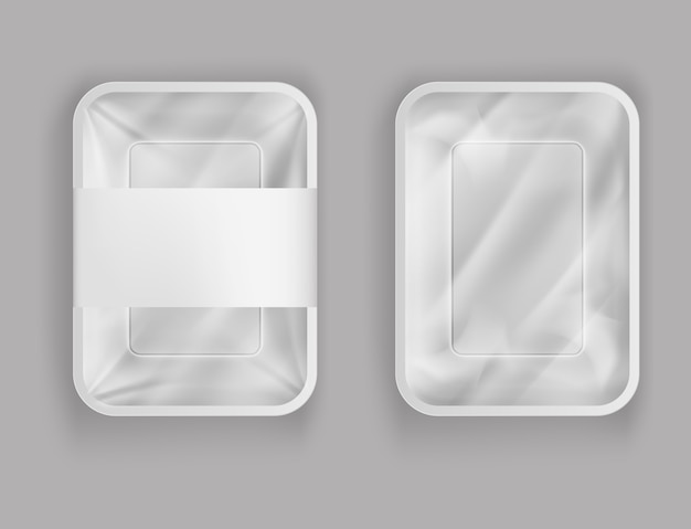 식품 용 플라스틱 용기, 종이 덮개 또는 플라스틱 호일이있는 제품