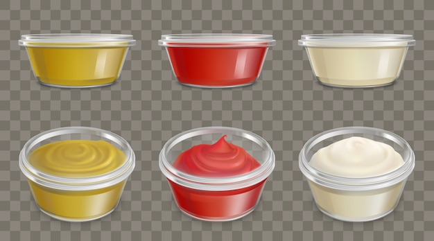 Plastic containers for sauces realistic vector set