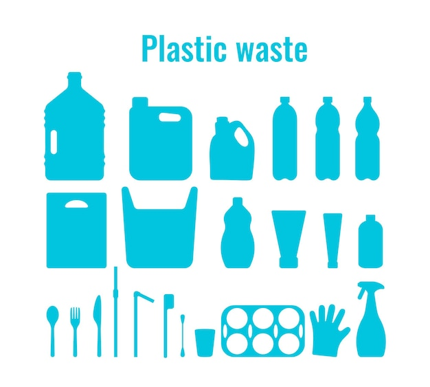 Plastic containers and single use dishes set vector illustration plastic waste problem symbol
