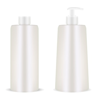 Plastic cosmetic blank bottle. pump dispenser. realistic