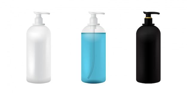 Пластиковая косметическая бутылка. изолированный черный, белый и прозрачный макеты для супа, шампуня, геля, спрея, лосьона для тела, шампуня. 3d реалистичный шаблон контейнера. прозрачный медицинский комплект упаковки макета.