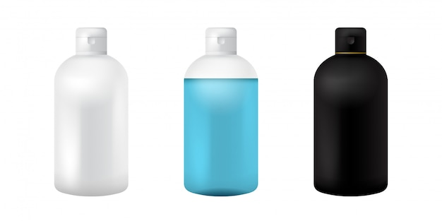 Plastic cosmetic bottle. isolated black, white and transparent mockup for soup, shampoo, gel, spray, body lotion, shampoo. 3d realistic container template. clear medical packaging mockup set.
