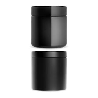 プラスチック製のクリームジャー。化粧品クリーム容器。分離されたチャコールスクラブ、パウダー、またはワックス用のブラックグロスパッケージ。ラウンドフェイシャルトリートメントキャニスターのイラスト。ゲルはブランクにすることができます