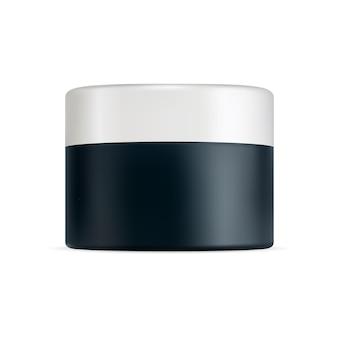 플라스틱 크림 항아리 흰색 모자 화장품 용기 얼굴 피부 젤을 위한 현실적인 둥근 상자