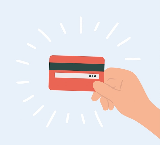 Plastic credit card in hand. hand drawn