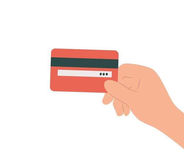 手にプラスチッククレジットカード白い背景の上のフラットスタイルで手描きイラスト