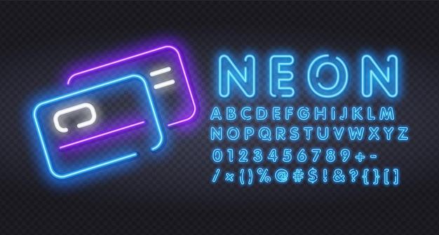 플라스틱 신용 카드 네온 불빛 아이콘 그림