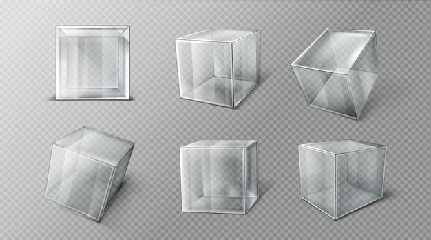Plastic cube in different angles