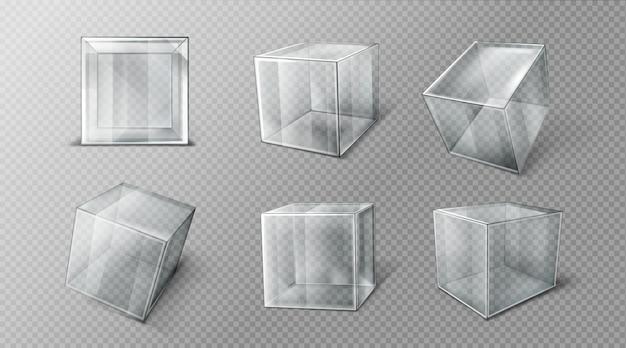 さまざまな角度のプラスチックキューブ