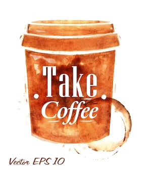 Plastic cup of coffee drawn