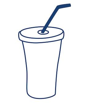 Пластиковый стаканчик для жидкости с трубочкой. силуэт стакана с трубочкой. фаст-фуд, напитки.