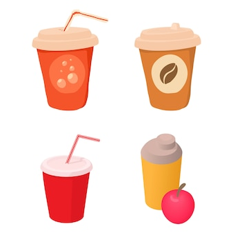 Plastic cup icon set