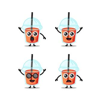Plastic cup juice cute character mascot