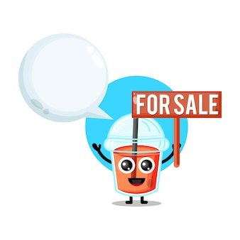 Plastic cup juice for sale cute character mascot