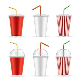 Plastic cup for soda water realistic set