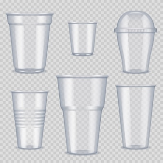 Plastic cups. transparent empty vessel for beverage food and drinks template of plastic cups vector realistic pictures. cup container plastic, transparent disposable for drink illustration