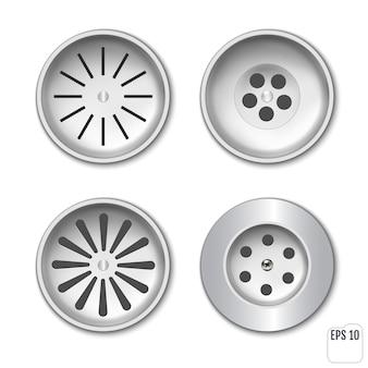 シャワーまたはシンク用のプラスチック排水グリッド。