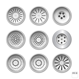 Plastic drainage grid for shower or sink. set for design. realistic set drain manhole with grid on sewer in bathroom or shower floor