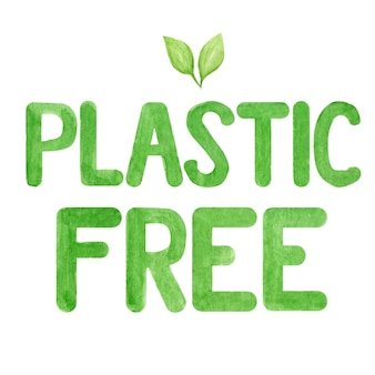 Без пластика. зеленая акварель надписи