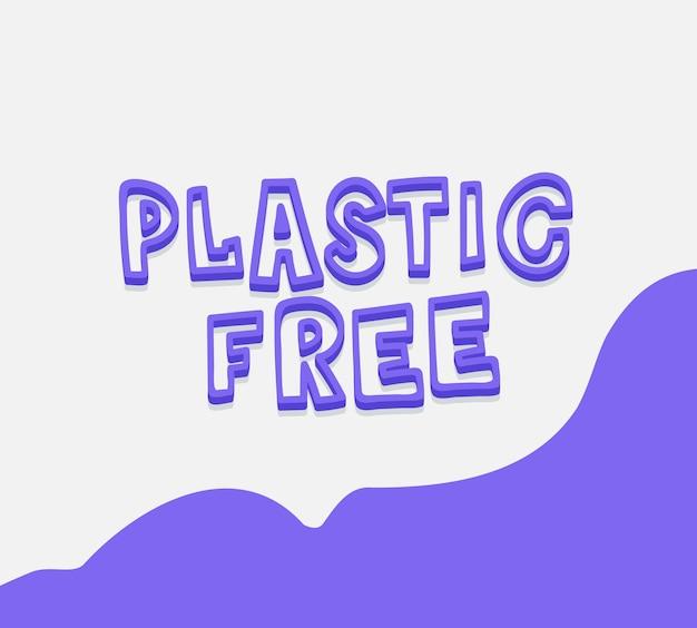 プラスチック無料ポスターベクトル引用文字エコロジーカードコンセプトエコ手描きメッセージプラスチック無料