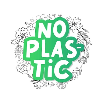 Plastic free product sign for labels, stickers no plastic lettering