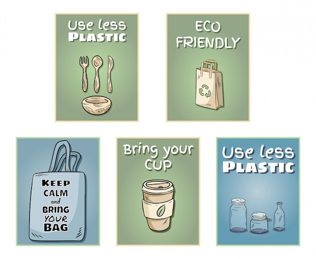 ポスターのプラスチック無料セット Premiumベクター