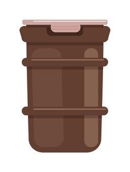 白い背景の上のふたが付いているプラスチックごみ箱容器