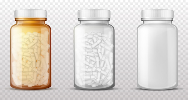 Plastic, glass bottles for pills realistic vector