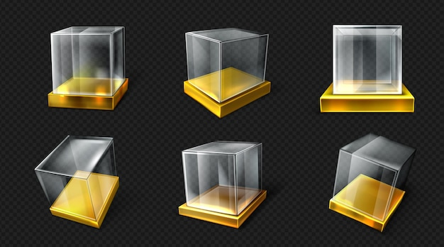 Plastic or glass cube on gold base various angle view