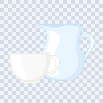 Plastic or glass cups bottles , glass pitcher and coffee cup vector illustration