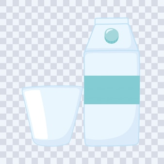 Plastic or glass cups bottles , milk or juice box and disposable cup vector illustration