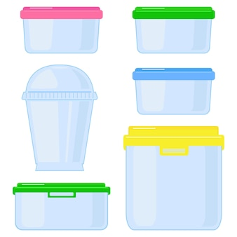 Plastic or glass storage containers with lids.